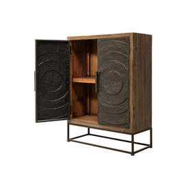 Wooden & Metal 2 Door Cabinet