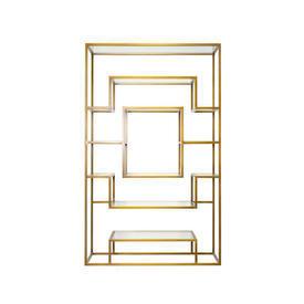 Aged Gold & Glass Multi Shelf Unit