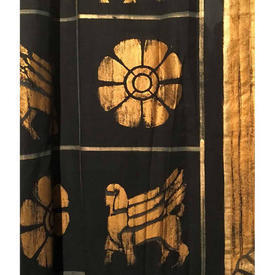 Pair Drapes 16' x 7' Black / Gold Egyptian Motifs Painted Canvas