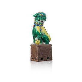Large Green & Yellow Chinese Dragon On Plinth Ornament