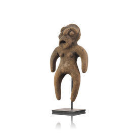 Heavy Terracotta Abstract Figurine On Stand