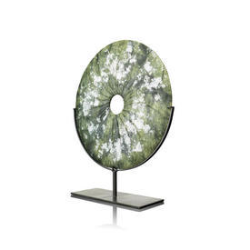 Fossilised Green Disc On Metal Stand
