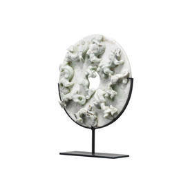"Circ Jade Mix Marble ""Yubi"" 3D Lizard Embossed Disc On Stand"