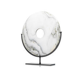"White &  Green ""Cloudy"" Marble Disc On Stand"