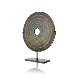 Bronze Ringed Marble Disc On Stand