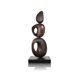 Chocolate Brown Lacquer ''Tropez'' Sculpture on Base