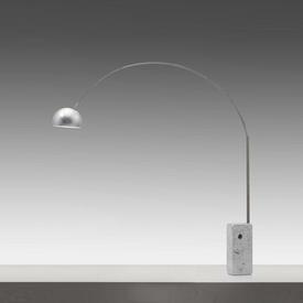 "White Marble Base & Steel ""Arco"" Floor Lamp"