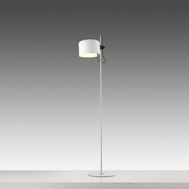 White Lacquer & Chrome ''Coupe'' Floor Lamp