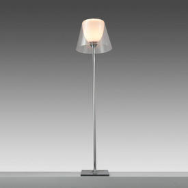 """Chrome """"K Tribe"""" Floor Lamp with Clear Perspex Shade"""