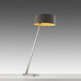 Chrome Sloped Floor Lamp with Lge Oval Grey Shade