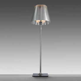 """Large Chrome """"K Tribe"""" Floor Lamp with Silver Perspex Shade"""