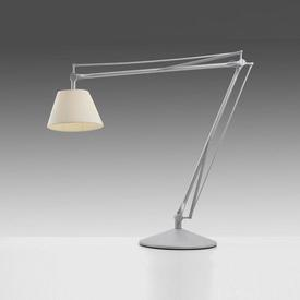 Giant Silver ''Archimoon'' Anglepoise Lamp with Cream Pleated Shade