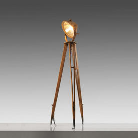 Wood Tripod Floor Lamp with Copper Spotlight Shade