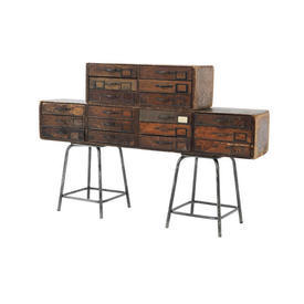 Dark Wooden 6 Drawer Apothecary Unit