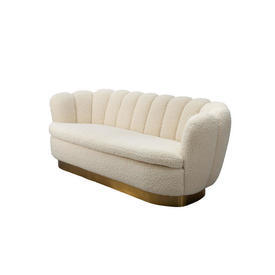Cream Boucle Scallop Back ''Mirage'' Sofa on Brass Base