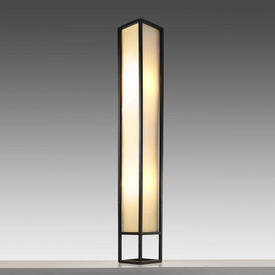 Dark Wood & Fabric Column Floor Lamp