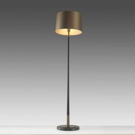 """Dark Bronze """" Veletto """" Floor Lamp with Brass Detail & Bronze Satin Shade"""