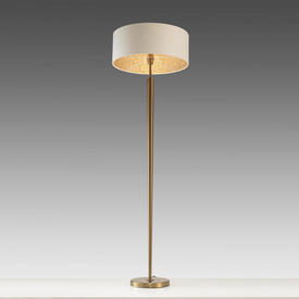 Antique Brass ''Torchere'' Floor Lamp with Ivory Drum Shade with Gold inner