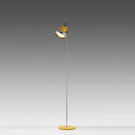 Chrome & Yellow Retro Spotlight Floor Lamp