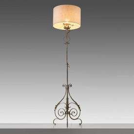 Grey Wrought Iron Ornate Floor Lamp (Shade Not included)