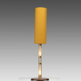 Faceted Glass, Brass & Wood Floor Lamp with Mustard Cylinder Shade
