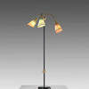 Black & Brass Floor Lamp with 3 Pleated Shades (Pink, Gold & Green)