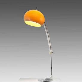 Chrome Arc Floor Lamp with Smoked Perspex Dome Shade