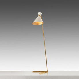 Gold Base ''Peggy'' Floor Lamp with White Cone Shade
