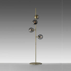 """Antique Brass """"Orb"""" Floor Lamp with 4 Smoked Glass Ball Shades"""