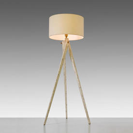 Aged White Tripod Floor Lamp with Cream Shade