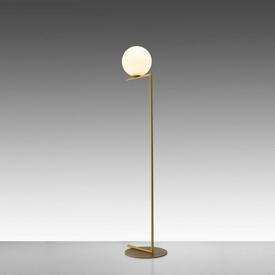 """Brushed Brass """"IC"""" Floor Lamp with White Glass Globe Shade"""