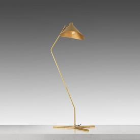 Gold Base ''Dino'' Floor Lamp with Sand Shade