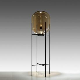 Champagne Glass Floor Lamp in Black Metal Frame