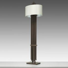 """Antique Brass Rod """"Vienna"""" Floor Lamp with Oval White Shade"""