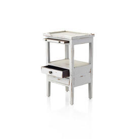 Aged Grey French 3-Drawer with Shelf Bedside Table