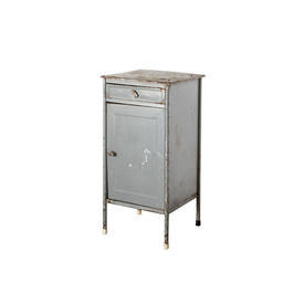 Grey Metal industrial 1 Drawer 1 Door Bedside Cabinet