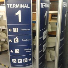 6' Illuminating Airport Sign, Silver Frame