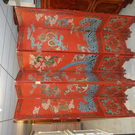 Red Dragon Pattern 6 Fold Oriental Screen