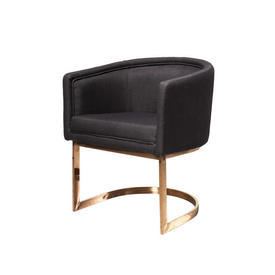 Black Tub Chair on Rose Gold Base