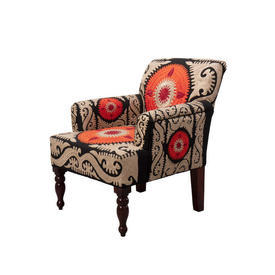 "Beige, Orange & Black Crewel ""Berere"" Armchair"