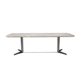 "Rect Grey Marble ""Attico"" Coffee Table on Pewter & Shiny Chrome Base"