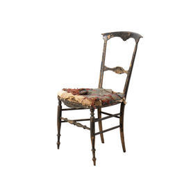 Aged Black Wooden Chair with Distressed Green & Red Fabric S