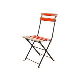 Distressed Orange Painted & Metal Slatted Chair