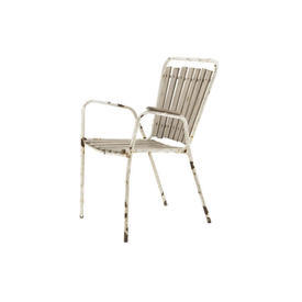 Aged White Metal & Wooden Slatted Chair
