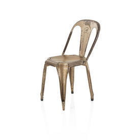 "Aged Bronze Metal & Darkwood ""Tolix"" Dining Chair"