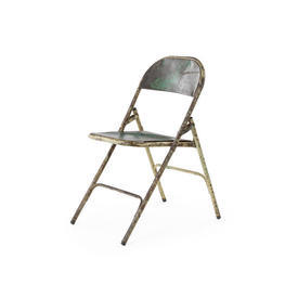 Distressed Green & Cream Folding Metal Chair