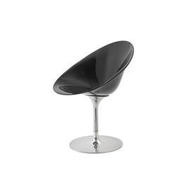Black Perspex & Chrome ''Ero'' Swivel Dining Chair