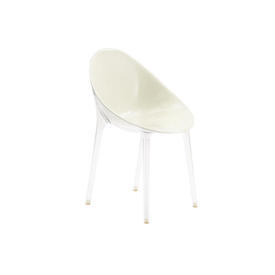 Cream Perspex ''Mr Impossible'' Dining Chair on Clear Legs
