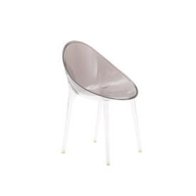 Smoked Perspex ''Mr Impossible'' Dining Chair on Clear Legs