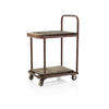 Aged Red Metal & Wooden 2 Tier Trolley